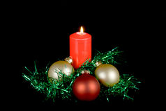 Red candle christmas decor Royalty Free Stock Image