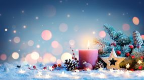 Red Candle With Christmas Decoration stock image