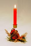 Red Christmas candle. Stock Photo