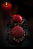 Red candle and Christmas Ornament Stock Images