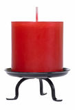 Red candle cutout. Isolated on white background with clipping path Stock Images