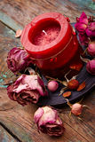 Red candle with dry rose Stock Photos