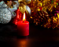 Red candle with fire Royalty Free Stock Image