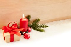 Red candle for the first Advent before Christmas stock photography