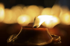 Red candle. Flame of the red candle Royalty Free Stock Photo