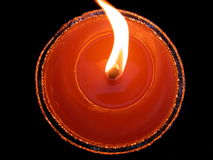 Red candle and flame Royalty Free Stock Photo