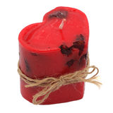 Red candle in the form of heart. Handmade. Isolated object Royalty Free Stock Photo
