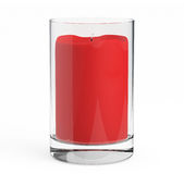 Red Candle with Glass Candlestick Royalty Free Stock Image