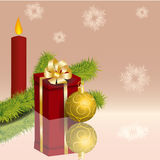 Red candle and gold Christmas ball Royalty Free Stock Photo
