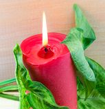 Red candle with green leaves. On mat Stock Photo