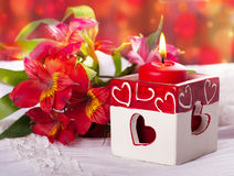 Red candle with heart Royalty Free Stock Photo