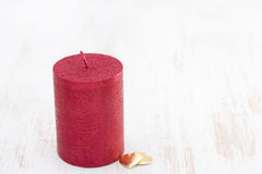 Red candle with hearts Royalty Free Stock Photo