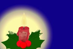Red Candle And Holly Royalty Free Stock Photography