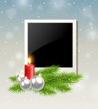 Red candle and photo. Christmas background with red candle and photo Stock Photos