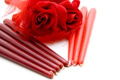 Red candle with rose Royalty Free Stock Image