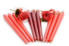 Red candle with rose Royalty Free Stock Photos