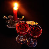 Red candle in vintage candlestick Stock Image