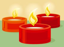 Red candles. Decorative red candles, vector illustration Royalty Free Stock Images