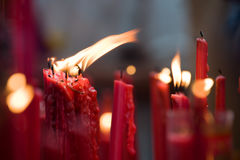 Red candles. Close up photo of red candles Stock Photos