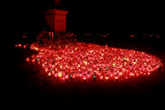 Red candles. On All Hallows day in Vukovar stock photos