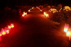 Red candles. On cemetery in Vukovar stock photos