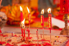 Red candles at chinese Buddha temple Royalty Free Stock Photo