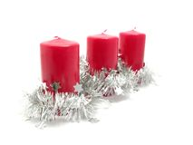 Red candles with christmas decoration Royalty Free Stock Photos