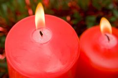 Red candles of Christmas lit Stock Image