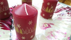 Red candles christmas. Some cool red candles with decorations for christmas Royalty Free Stock Images