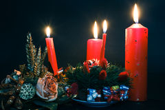 Red candles. Christmas wreath with red candles Stock Photo
