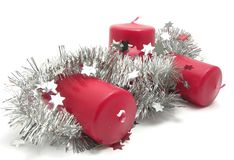Red candles with decoration Stock Photos
