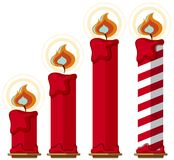 Red candles with fire on white background. Illustration Stock Photo