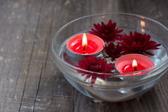 Red candles and flowers in a bowl Royalty Free Stock Photography
