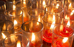 Red candles in glass Stock Photography