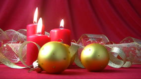 Red candles and gold balls Stock Photo