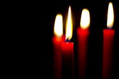 Red Candles Lit Stock Photography