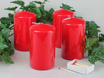 Red Candles and Matches Royalty Free Stock Images