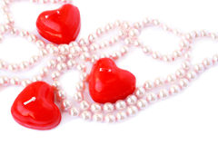 Red candles and necklace Royalty Free Stock Image