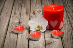 Red candles and orchid on rustic wooden background. Valentine's day card. Royalty Free Stock Photo