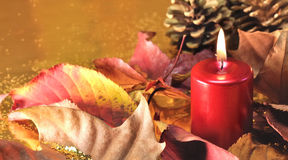 Red candles red Christmas decorations Royalty Free Stock Image