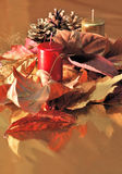 Red candles red Christmas decorations Stock Photo
