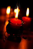 Red candles for romantic evening. Red candles in a jars Royalty Free Stock Photos