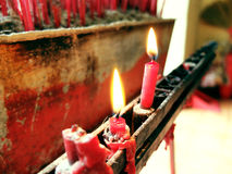 Red Candles In Temple royalty free stock image