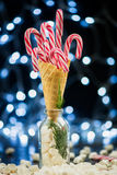Red Candy Canes in an Ice Cream Waffle Cone Royalty Free Stock Photos