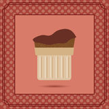 Red candy card with a chocolate cream cake Royalty Free Stock Photos