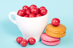 Red candy chocolate ball in a cup with macaroon Royalty Free Stock Images