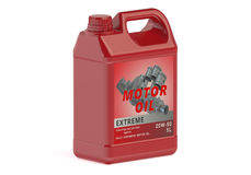 Red canister motor oil Royalty Free Stock Photos