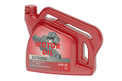 Red canister motor oil Stock Photo
