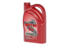 Red canister motor oil 1L Stock Image