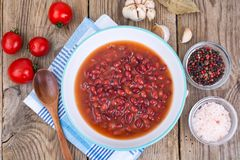 Red canned beans in sauce. Studio Photo Stock Photo
